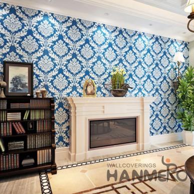 Luxurious HANMERO Royal Blue Damask European Vinyl Wallpaper