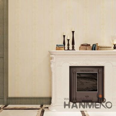 Living Hall Floral Stripe Champagne Color HANMERO PVC Wallpaper
