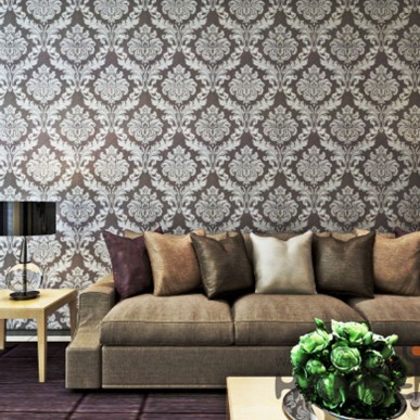 HANMERO Brown and White Damascus Style Vinyl Living Room Wallpaper