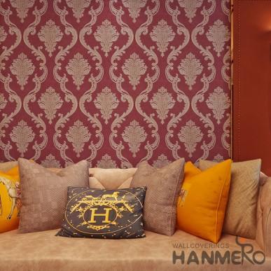HANMERO European Floral Damascus Red Wallpaper For Interior Room