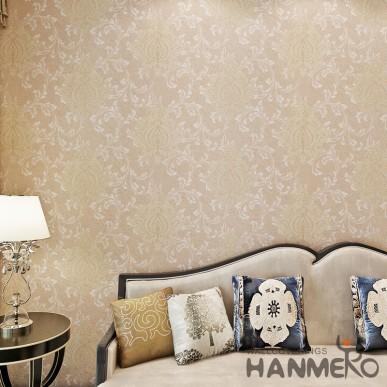 HANMERO Champagne Color European Floral High End PVC Wallpaper