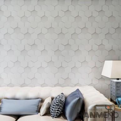 HANMERO Light Grey PVC 3D Geometric Wallpaper For House Room