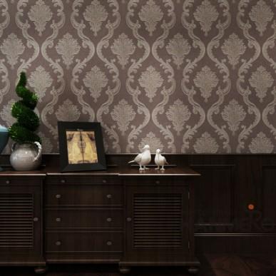 HANMERO Brown Damask Vinyl Coated PVC Home Decorative Wallpaper