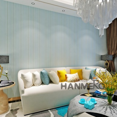 HANMERO Modern Light Green Stripe Pattern PVC Embossed Wallpaper For Home