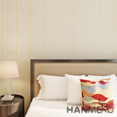 HANMERO Stripe Pattern Gold Color Vinyl Embossed Home Wallpaper