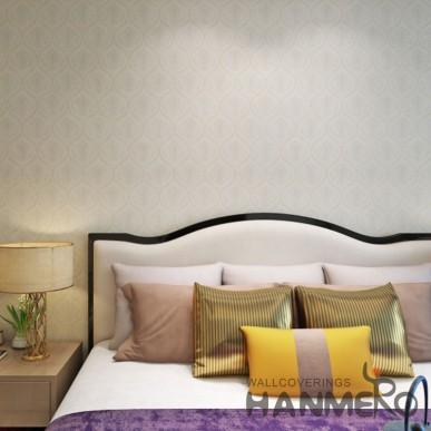 HANMERO PVC Beige Floral European Style Embossed Wallpaper For Interior Room