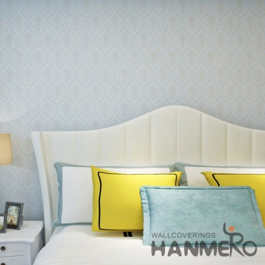 HANMERO PVC Blue European Style Floral Embossed Wallpaper For Room