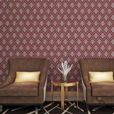 HANMERO PVC Burgundy European Style Floral Embossed Wallpaper For Room