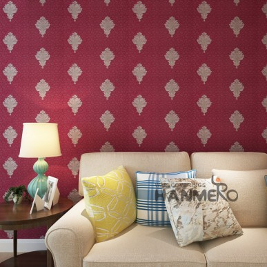 HANMERO Modern Wine Red PVC Embossed European Living Room Wallpaper