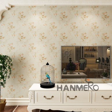 HANMERO Beautiful Embossed Decorative PVC Floral Bedding Room Wallpaper