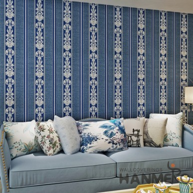 HANMERO Royal Blue Stripe Floral Pattern PVC Wallpaper For Home
