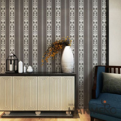 Modern Removable Light Brown Stripe And Floral Vinyl Wallpaper