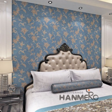 HANMERO Cheap Blue Floral Bedroom Wall PVC Decoration Wallpaper