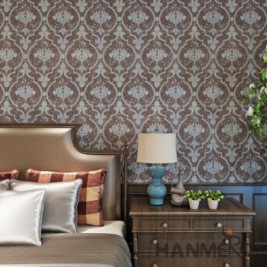 HANMERO Deep Brown Modern Removable Floral Vinyl Wallpaper For Bedroom