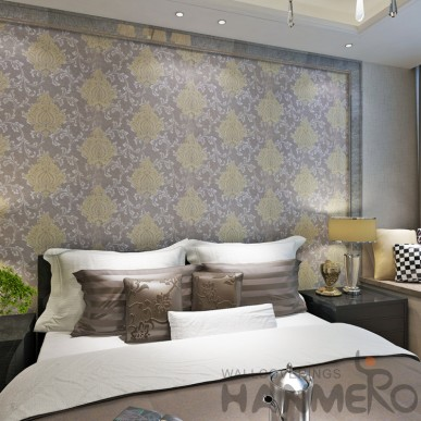 HANMERO European Gold Purple Floral PVC Decorative Wallpaper