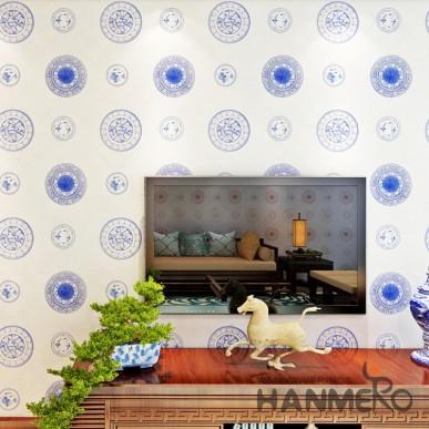 HANMERO Chinese Style Modern Royal Blue Modern Vinyl Wallpaper For Living Room