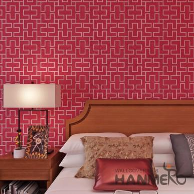 HANMERO Modern Red Geometric PVC Wallpaper For Home Decoration