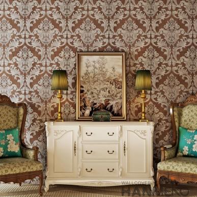 HANMERO European Brown Silver Floral Vinyl Embossed Decorative Wallpaper