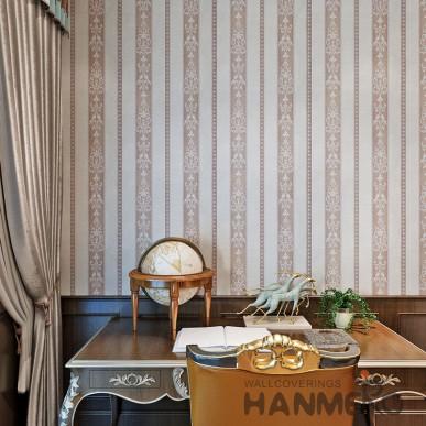 HANMERO Vinyl European Stripe And Floral Brown Living Room Bedroom Wallpaper
