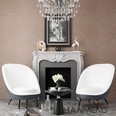 HANMERO Solid Brown Color PVC 0.53*10M Embossed Wallpaper