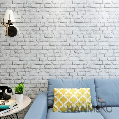 HANMERO Vintage 3D Brick Pattern TV Background Embossed Vinyl Wallpaper