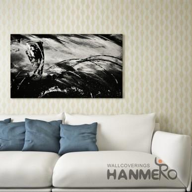 HANMERO Gold Wave Pattern Modern Waterproof PVC Embossed Wallpaper