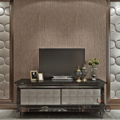 HANMERO Coffee Brown Plain Color Simple PVC Embossed Wallpaper For Wall