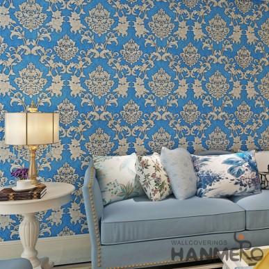 HANMERO 0.53*10M Royal Blue European Golden Floral Vinyl Wallpaper With Embossed