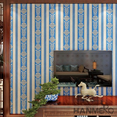 HANMERO PVC Embossed Stripe And Flower Royal Blue Bedding Room Wallpaper