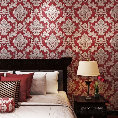HANMERO Classic Wine Red Damask 0.53*10m Embossed Wallpaper With PVC Material