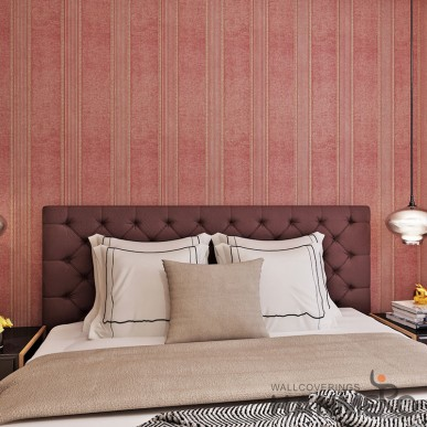 HANMERO PVC Wine Red Modern Stripes Embossed Wallpaper 0.53*10m/roll