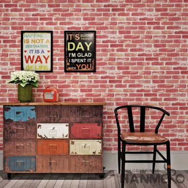 HANMERO Vintage Old 3D Brick Pattern PVC Embossed Wallpaper For TV Background
