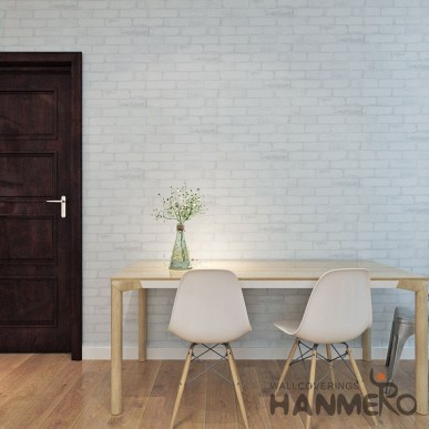 HANMERO White Brick Vinyl Embossed Visional 3D 0.53*10M Wallpaper