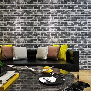 HANMERO Retro 3D Black Brick Wallpaper With Vinyl Embossed For Home