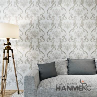 HANMERO Silver Black European PVC Embossed Floral Wallpaper For Bedding Room
