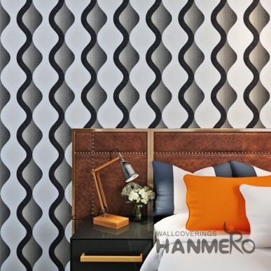 HANMERO Black And White Geometric Wave Pattern PVC Modern Wallpaper
