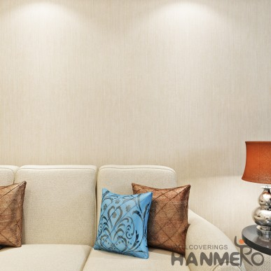 HANMERO Light Champagne Gold Pure Color Modern PVC Embossed Wallpaper