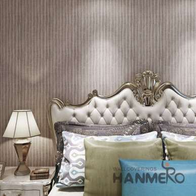 HANMERO Brown Stripes Modern Removable Simple PVC Wallpaper For Wall