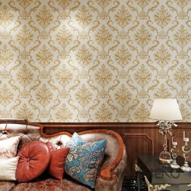 HANMERO Luxury European Large Floral PVC Embossed Golden Wallpaper