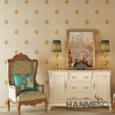 HANMERO PVC Embossed European Floral Vinyl Bedroom Wallpaper