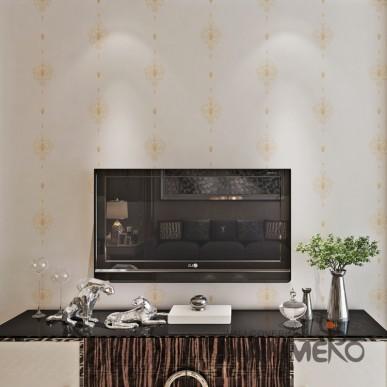 HANMERO White Embossed European Simple PVC Floral Living Room Wallpaper