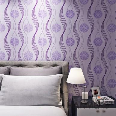 HANMERO Purple Modern Geometric Flower PVC Embossed Wallpaper For Decoration