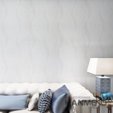 HANMERO PVC White And Grey Geometric Flower  Embossed Modern Wallpaper