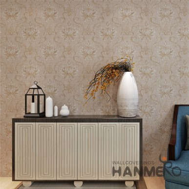 HANMERO Brown Color Flowers Pattern Embossed  Surface PVC Home Wallpaper