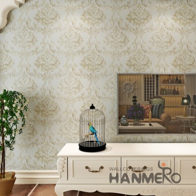 HANMERO European Gold Color PVC Embossed Wallpaper For Interior Room Decoration