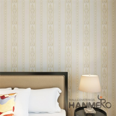 HANMERO Beige Color Stripe And Flower Vinyl Embossed Durable Wallpaper