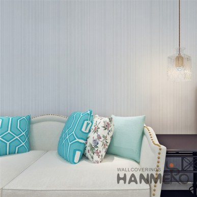 HANMERO Modern Grey Simple Stripe Removable PVC Embossed Wallpaper