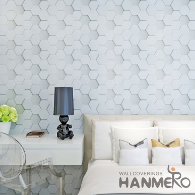 HANMERO Modern 3D Geomertric Vinyl Coated Embossed Wallpaper For Room