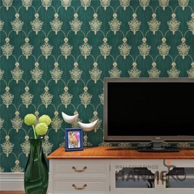 HANMERO Classic European Atrovirens Floral Embossed Easy Clean PVC Wallpaper