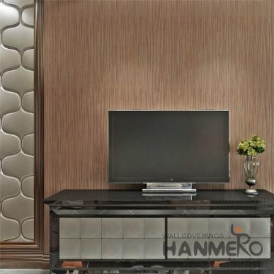 HANMERO Red Brown Modern Simple Wallpaper Embossed Solid Color PVC Wallpaper